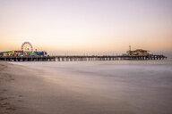 USA, California, Santa Monica, pier with Ferris wheel at twilight - DAWF00876