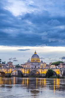 Italy, Rome, Vatican, St. Peter's Basilica and Ponte Sant'Angelo in the evening - HAMF00555