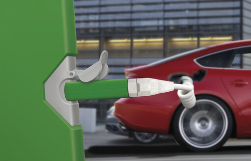 Electric car getting recharged on green vehicle charging station - KLRF00779