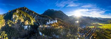 Germany, Bavaria, Hohenschangau, Aerial view of Neuschwanstein Castle in autumn - AM06463