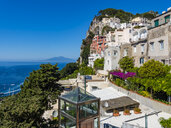 Italy, Campania, Capri, View from Piazza Umberto I to Gulf of Naples - AMF06474