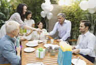 Friends enjoying outdoor birthday party - HEROF00330