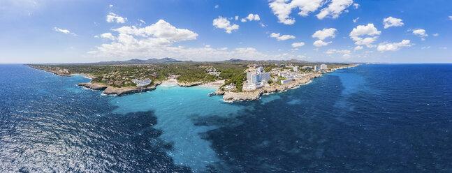 Spain, Baleares, Mallorca, Porto Colom, Aerial view of Cala Tropicana and Cala Domingo - AMF06481