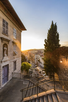 France, Provence-Alpes-Cote d'Azur, Nice, Old town at sunset - WDF04950