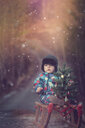 Toddler sitting on a sleigh with small Christmas tree - INGF10861