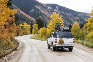 4x4 car on dirt road, Alpine Loop, Colorado, USA - AURF07911