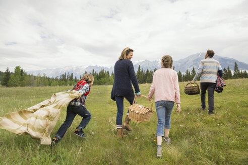 Family having picnic in rural field - HEROF02144