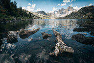Rocks in the lake by the mountains out in beautiful nature - INGF11311