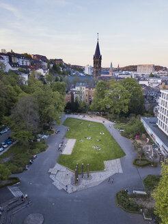 Germany, Wuppertal, Eberfeld, Aerial view of Deweerthscher Garten - SKAF00098