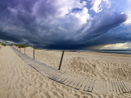 France, Contis-Plage, beach and dark clouds - LAF02212