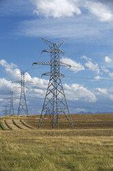 Power lines in sunny rural field - HEROF03378
