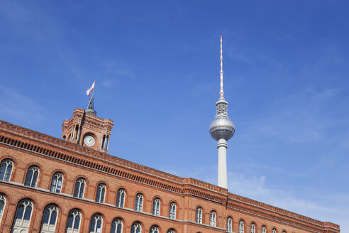 Germany, Berlin, view of television tower and Red City Hall in the foreground - GWF05729