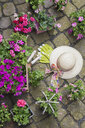 Various potted spring and summer flowers, straw hat, gardening tools and gloves on cabblestone pavement - GWF05737