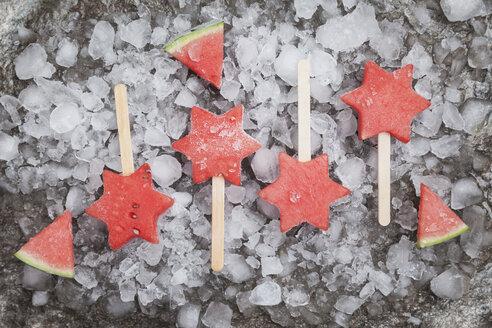Homemade frozen watermelon star ice lollies - GWF05745