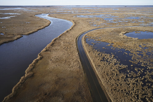 USA, Maryland, Cambridge, High tide flooding from rising sea levels at Blackwater National Wildlife Refuge - BCDF00369