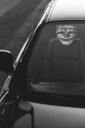 A person wearing a mask while driving in a car - INGF11594