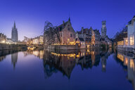 Belgium, Bruges, canal waterfront and historic buildings at night - RPSF00258