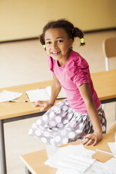 Portrait of playful girl in classroom - ASTF00065