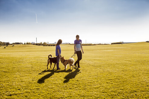 Full length of couple with dogs at park on sunny day - ASTF00107