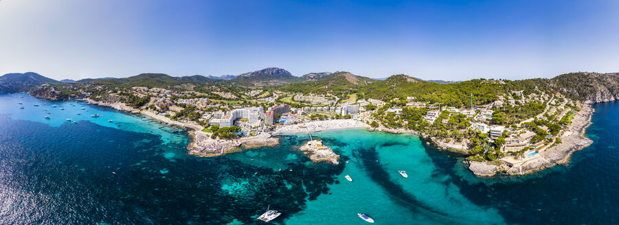 Spain, Baleares, Mallorce, Calvia region, Costa de la Calma, Aerial view of Camp de Mar - AMF06587