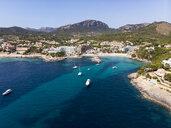 Spain, Baleares, Mallorce, Calvia region, Costa de la Calma, Aerial view of Camp de Mar - AMF06593