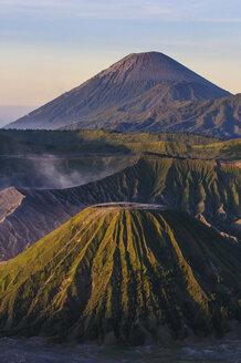 Indonesia, Java, Bromo Tengger Semeru National Park, Mount Bromo volcanic crater at sunrise - RUNF00696