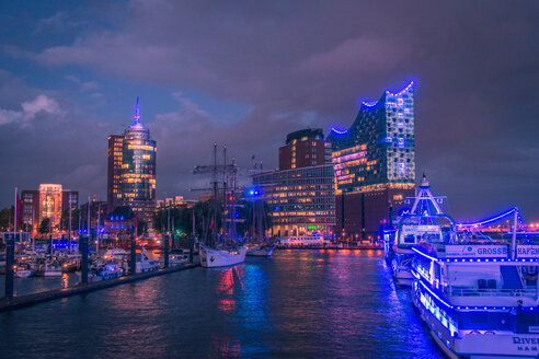 Illuminated city buildings by the river - INGF12026