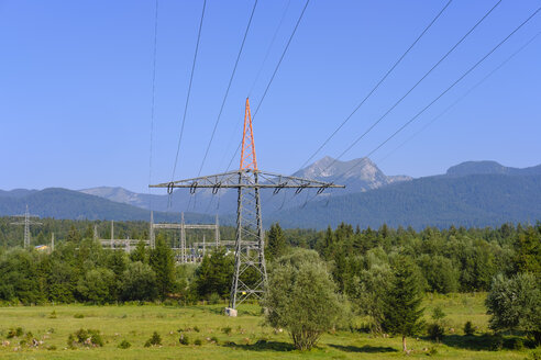 Germany, Bavaria, Werdenfelser Land, Kruen, power pylon, Transformator Station - SIEF08263