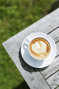 High angle view of cappuccino on wooden table - ASTF00692