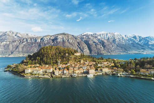 Italy, Lombardy, Aerial view of Bellagio and Lake Como - TAMF01102