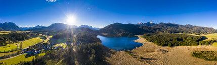 Germany, Bavaria, East Allgaeu, Region Garmisch-Partenkirchen, Kruen, Aerial view of Lake Barmsee and Grubsee - AMF06625