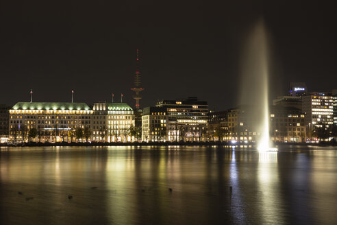Germany, Hamburg, view to Jungfernstieg with Binnenalster in the foreground at night - WIF03722