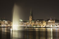 Germany, Hamburg, view to Jungfernstieg and Hamburg City Hall with Binnenalster in the foreground - WIF03725