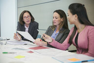 Businesswomen discussing paperwork in conference room meeting - HOXF04304
