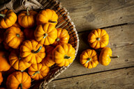 High angle close up of a selection of small bright orange pumpkins. - MINF09867