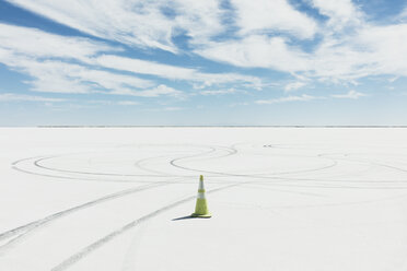 Traffic cone marking race course on Salt Flats - MINF10008