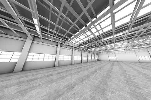 Architecture visualization of an empty warehouse, 3D Rendering - SPCF00314