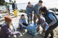 Beach cleanup volunteers picking up litter on beach - HEROF04109