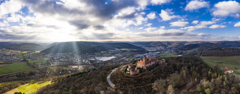 Germany, Hesse, Odenwaldkreis, Breuberg, Aerial view of Breuberg Castle - AMF06670