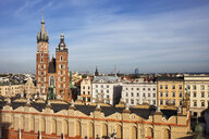 Poland, Krakow, Old Town, city skyline with St Mary's Church - ABOF00402
