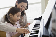 Mother teaching daughter to play piano - HEROF04448