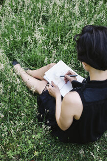 Back view of an artist sitting on a meadow drawing - JUBF00315