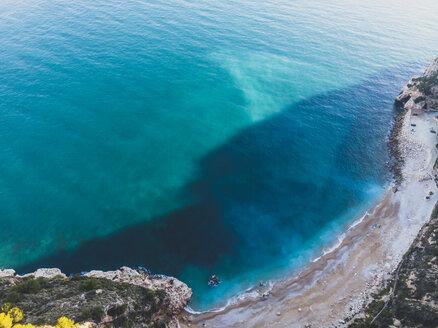 Aerial view of solitary paradisiacal beach. Benitachell Alicante, Spain. - OCMF00211
