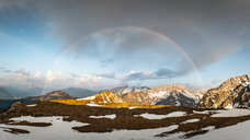 Rainbow over French Alps, Parc naturel régional du Massif des Bauges, Chatelard-en-Bauges, Rhone-Alpes, France - CUF46891
