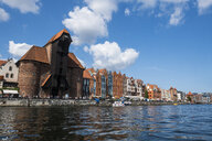 Poland, Gdansk, Hanseatic League houses and Crane Gate on the Motlawa river - RUNF00880