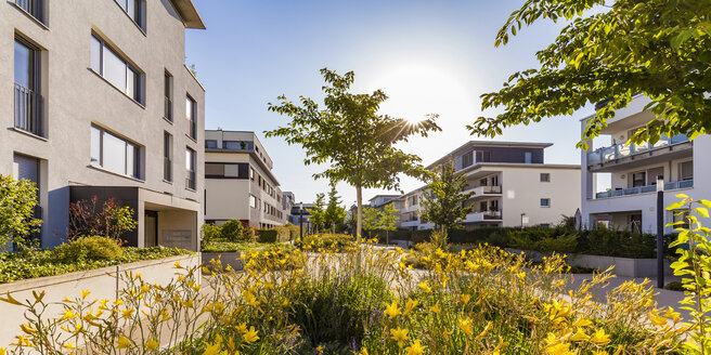 Germany, Ludwigsburg, residential area with modern multi-family houses - WDF05038
