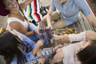 Friends toasting red wine and enjoying charcuterie board at picnic table - HEROF04861
