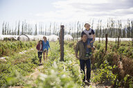 Family walking in sunny rural crop field - HEROF04870