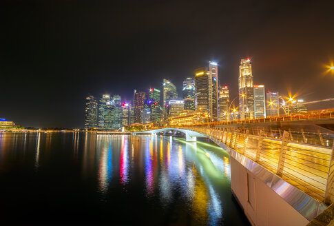 Singapore, Financial district, High-rise buildings at night - SMAF01183