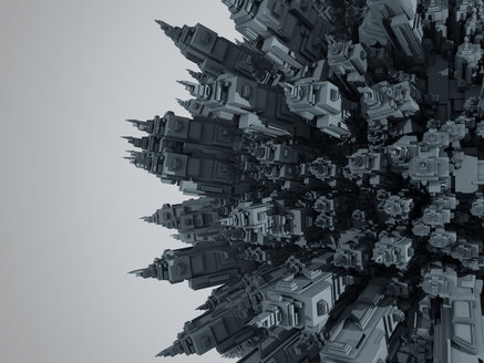 3D rendered Illustration of a cartoon planet filled entirely with urban buildings and skyscrapers - SPCF00325